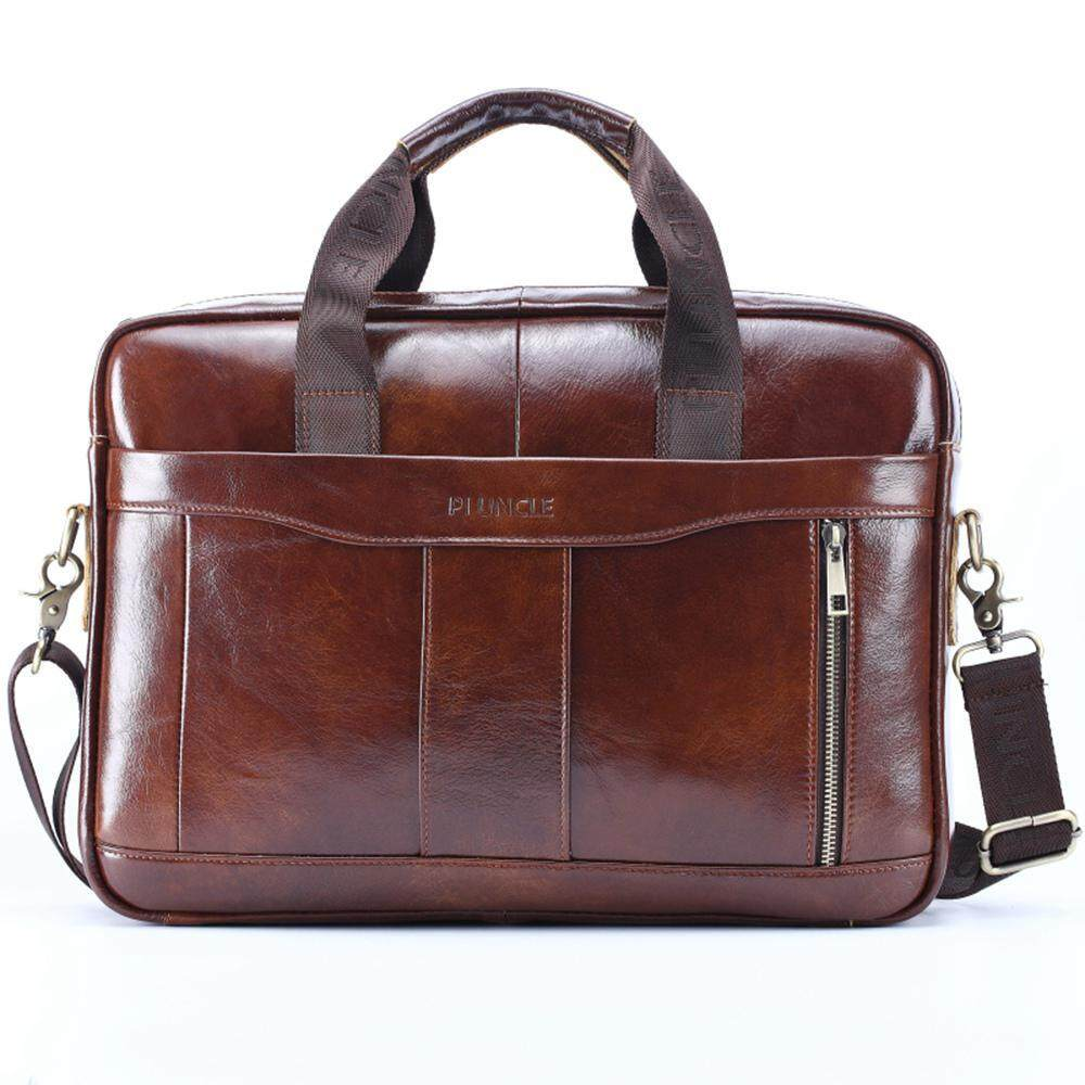 Aolvo Mens Genuine Leather Handmade Briefcase Shoulder Messenger Business Bag for MacBook Laptop