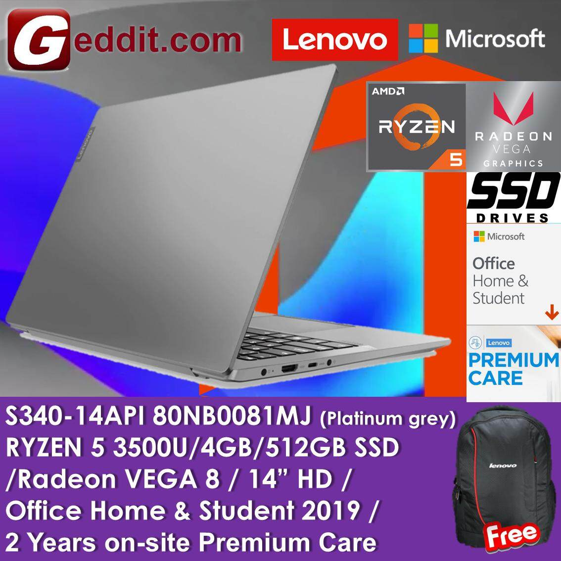 LENOVO S340-14API 81NB0081MJ / 81NB009XMJ LAPTOP (RYZEN 5 3500U,4GB,512GB SSD,VEGA 8 GRAPHICS,14  FHD,WIN10 HOME) + PREINSTALLED MS OFFICE HOME AND STUDENT + FREE BACKPACK Malaysia