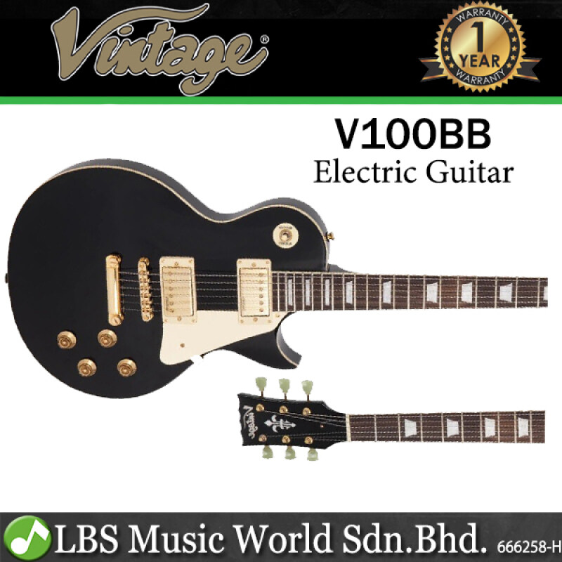 Vintage V100BB Reissued Series Mahagony Body HH Pickup Gold Hardware Electric Guitar Gloss Black (V100 BB) Malaysia