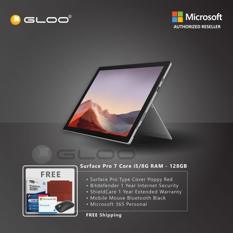 Microsoft Surface Pro 7 Core i5/8G RAM - 128GB Platinum - VDV-00012 + Surface Pro Type Cover Poppy Red + Shield Care 1 Year Extended Warranty + Bitdefender 1 Year Internet Security + Microsoft 365 Personal (ESD) + Mobile Mouse Bluetooth Black Malaysia