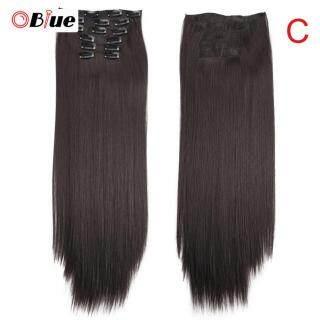 OBlue Wig Lurus Panjang, Rambut Palsu Sambungan dengan Klip Tanpa Jejak 140G 6 Buah Set, Set Kepala Penuh C thumbnail