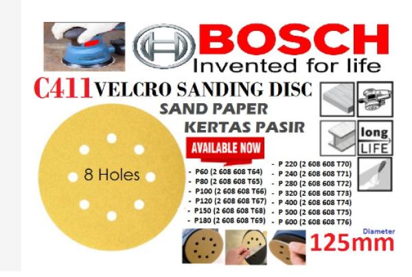 BOSCH C411 VELCRO SANDING DISC (SAND PAPER / KERTAS PASIR) - 8 HOLES & 125mm (WATERPROOF)