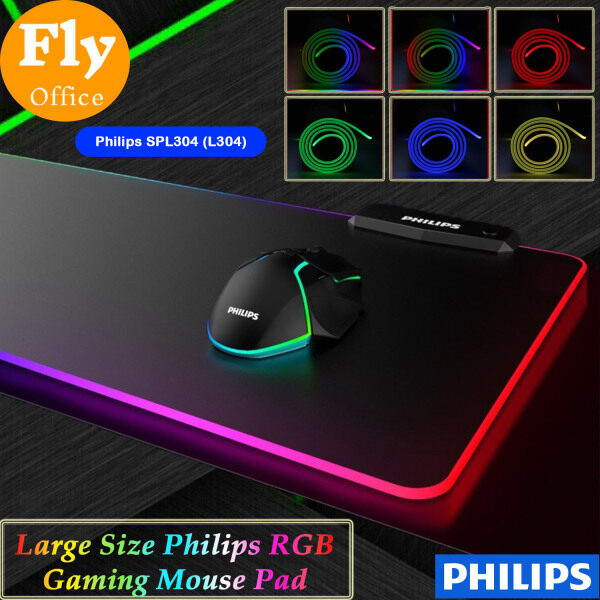 Philips L304 - Momentum Series Wired RGB Gaming Mouse Pad X 320 X 4mm), 4mm Thickness, 7's Color Breathing Lamp, One Touch Lighting Adjust Button. 4's USB Port for Charging & Connection, Non-Slip Rubber Base Malaysia