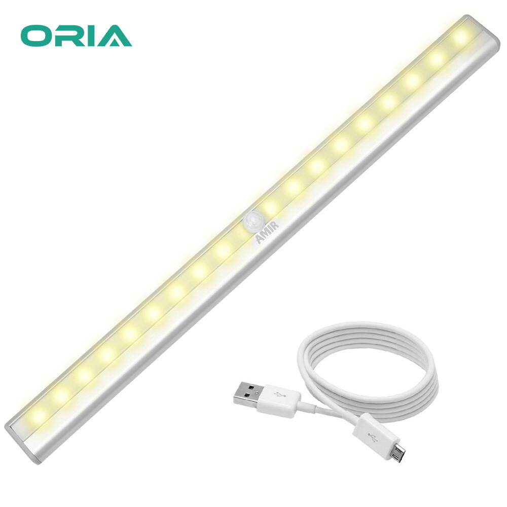 ORIA Motion Sensor LED Night Lights DIY Stick-on Anywhere Portable 20 LED Wireless Sensing Closet Light USB Rechargeable Cabinet Stairs Night Light Bar with Magnetic Strip