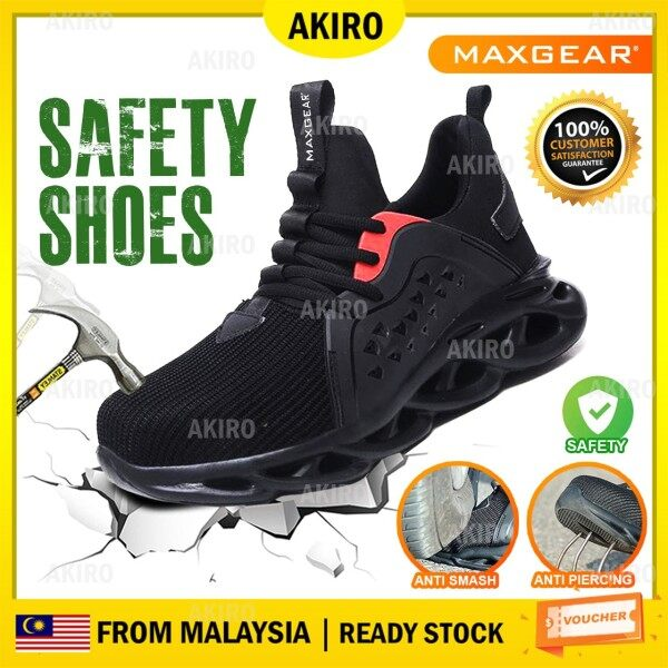 AKIRO Malaysia MAXGEAR Safety Shoes Steel Toe Cap Breathable Lightweight Sport Kasut Safety Boots Anti Smash Anti Slip Kasut Kerja Kasut Keselamatan