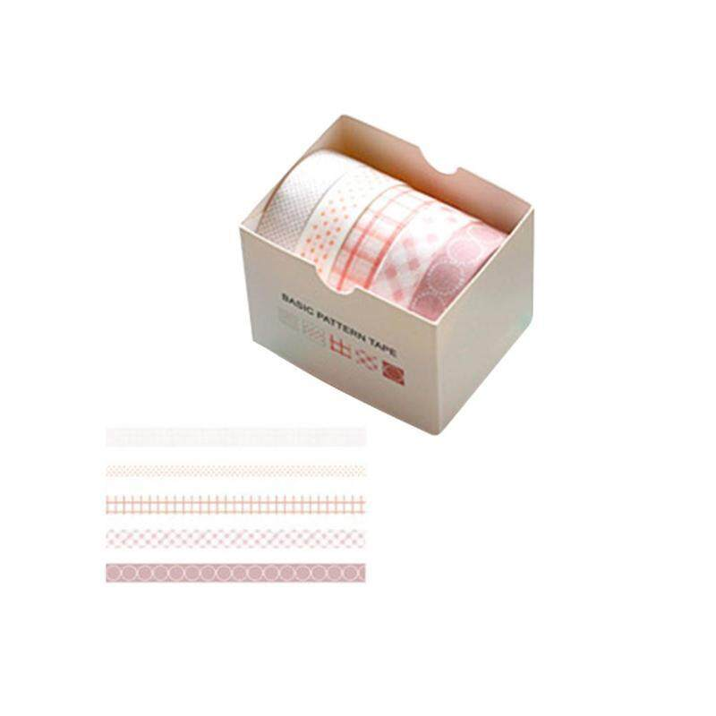 Mua 5 cái/hộp Đáng Yêu Hoa Anh Đào/Thông Nhánh Màu Sắc Cơ Bản Lưới Sọc Băng Keo Giấy DIY Thêu Sò Miếng Dán Nhãn Đắp Mặt Nạ Băng sinh viên Văn Phòng Phẩm