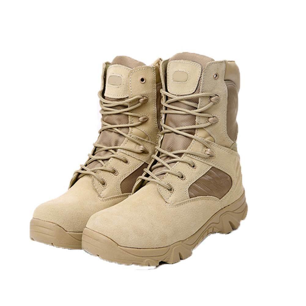 บู๊ตทหารสำหรับบุรุษกองกำลังพิเศษทะเลทรายเชิงยุทธวิธี Combat เรือกลางแจ้งรองเท้าบูทสำหรับลุยหิมะ By Outjoy988.