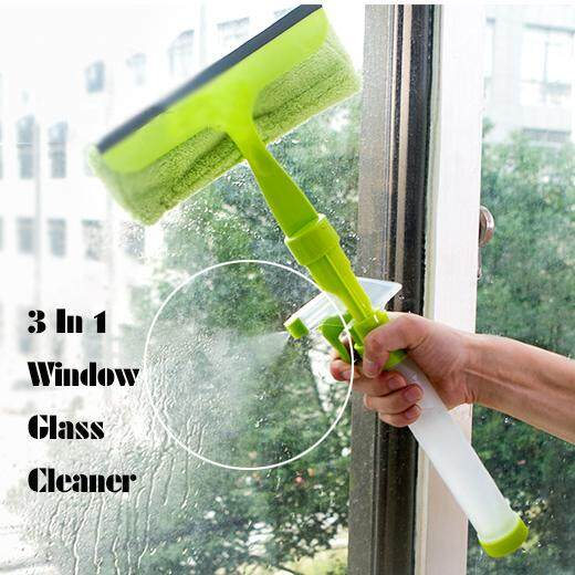 3 In 1 Window Glass Cleaner With Clothpad Wiper And Spray Window Scrubber Washer Cleaner Tools By Casperzhongcheng.