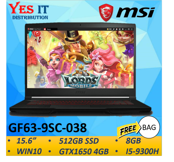 MSI GF63 9SC-038 15.6 FHD IPS Gaming Laptop Notebook Black (i7-9750H, 8GB, 512GB SSD, GTX 1650 4GB, W10)FREE BAG Malaysia