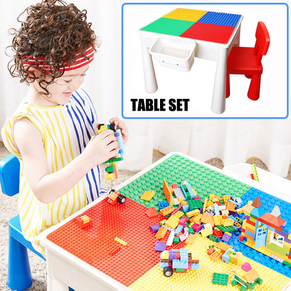 ALPACA Multifunctional Plastic Children Desk Building Blocks Learning Table And Chair With Storage Box Study Tables For Kids Playing Bricks Toys Furniture Sets