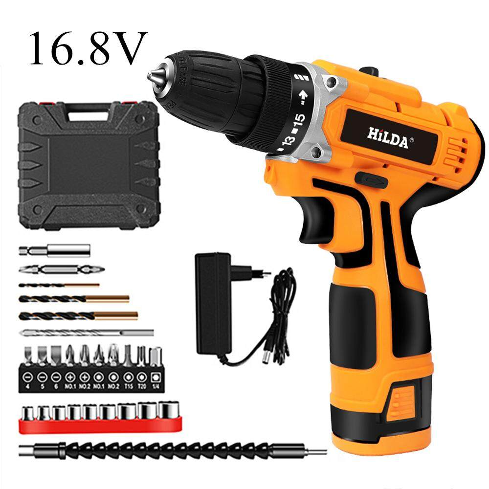 HILDA 16.8V Electric Drill with Rechargeable Lithium Battery Screwdriver Cordless Screwdriver Two-speed Power Drills