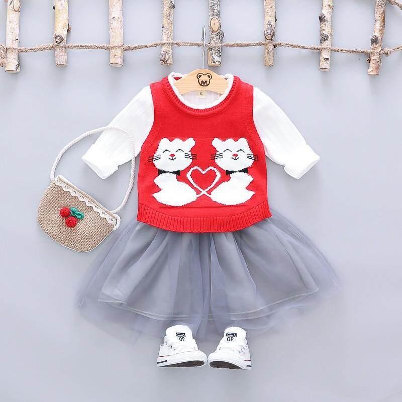 Trẻ em Hàn Quốc quần áo Chunjinbao trắng Áo Thun Hình cổ tích nửa chiều dài váy dệt kim chui đầu áo len phù hợp với