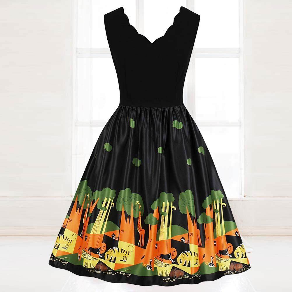 Women Stylish Retro V-neck Printed Sleeveless Swing A-Line Dress