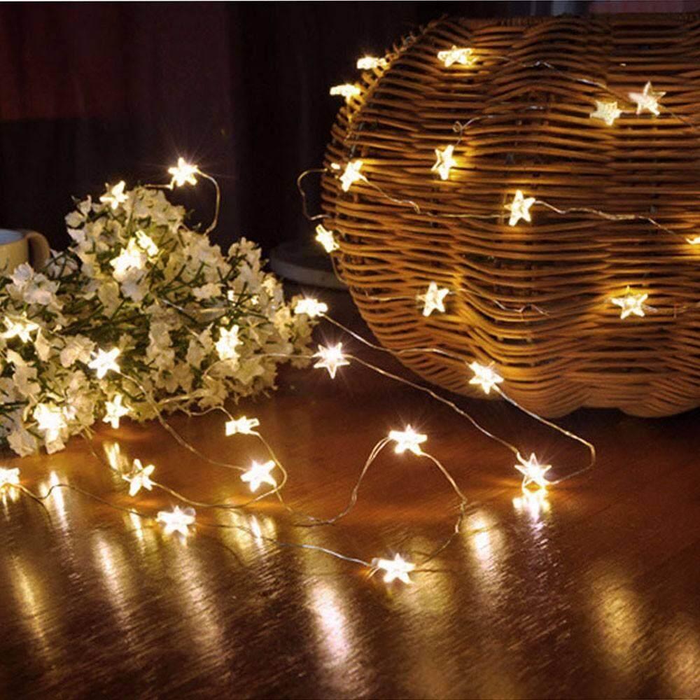 Oobest_Store_Battery 30LED LED Ngôi Sao Cổ Dây Đèn Giáng Sinh 100 Led Ngôi Sao Dây Cổ Tích Đèn Vòng Hoa DỰ TIỆC CƯỚI Rèm Trang Trí