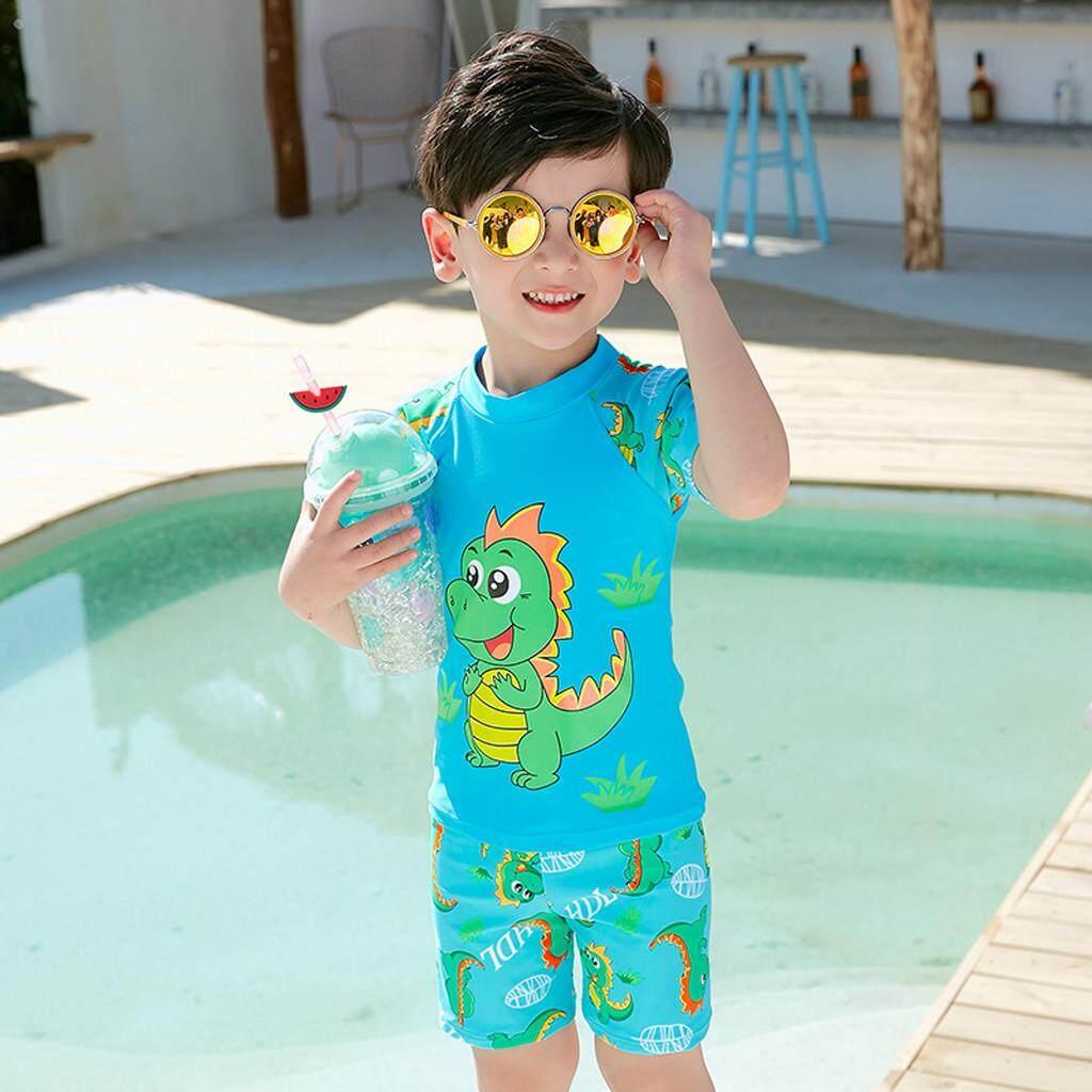 b4be5a6145 Babysmikee Kids Baby Boy Short Sleeve Dinosaur Print Tops+ Pants + Hat Pool Beach  Swimwear