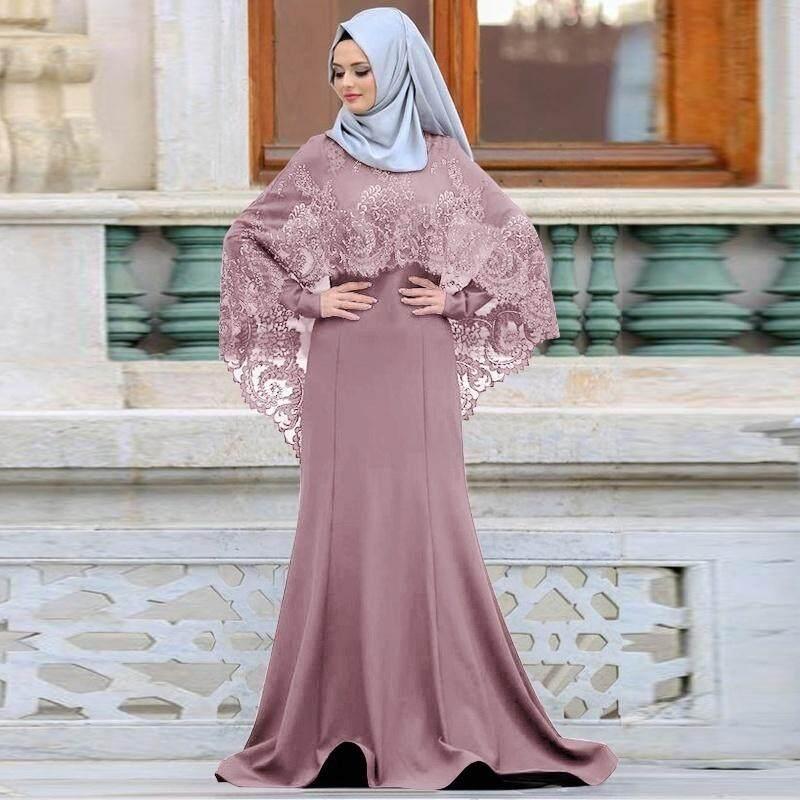 New Fashion Islamic Abaya Dress Muslim Woman S Elegant Lace Long Dress Kaftan Plus Size Women Long Sleeve Party Dress Islamic Muslim Floor Length Robe