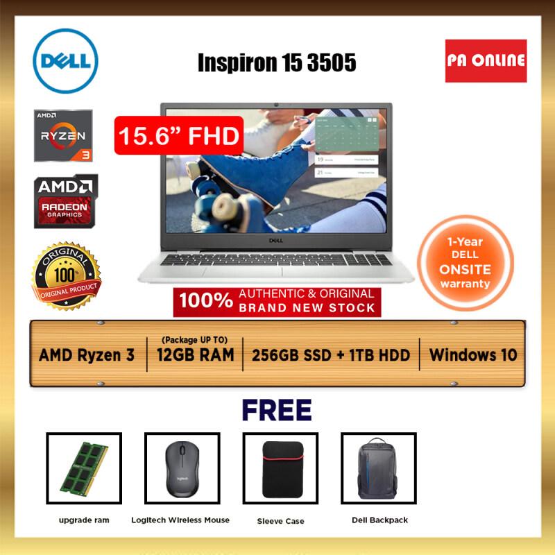 Dell Inspiron 15 3505 W516055103MYW10 -AMD Ryzen 3 3250U /4GB-12GB RAM /256GB SSD+1 TB HDD /15.6 FHD /Radeon Graphic /Win 10 /1 Year Malaysia