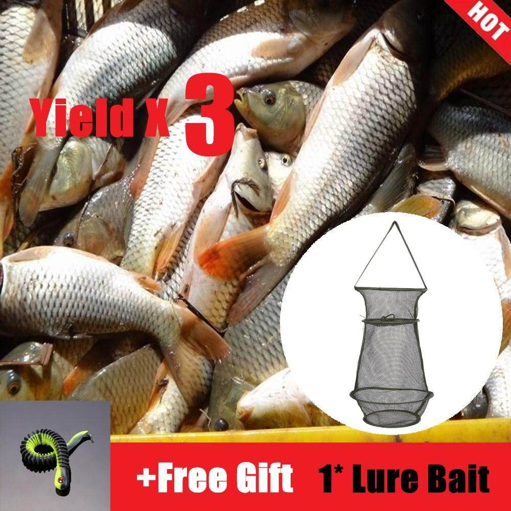 8f2e78fb47b8 [Free Gift] Highfly 3 Sections Portable Durable Fish Mesh Net Trap Cage  Fishing Tackle Accessory