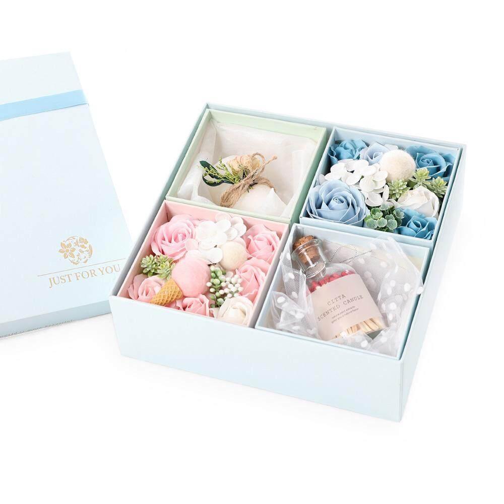 Nicetoempty Empat Persegi Sabun Bunga Mawar Kotak Hadiah dengan Boneka Mini Buatan Tangan Hadiah Hari Valentine