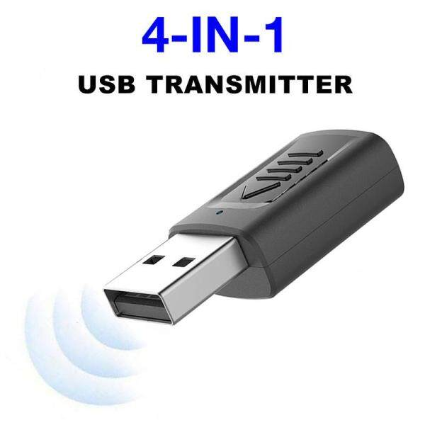 Mini 4 in 1 USB Bluetooth 5.0 Transmitter Receiver 3.5mm AUX &USB Adapter Audio Adapter for TV/PC/Car USB Bluetooth Transmitter Receiver Broad Compatibility