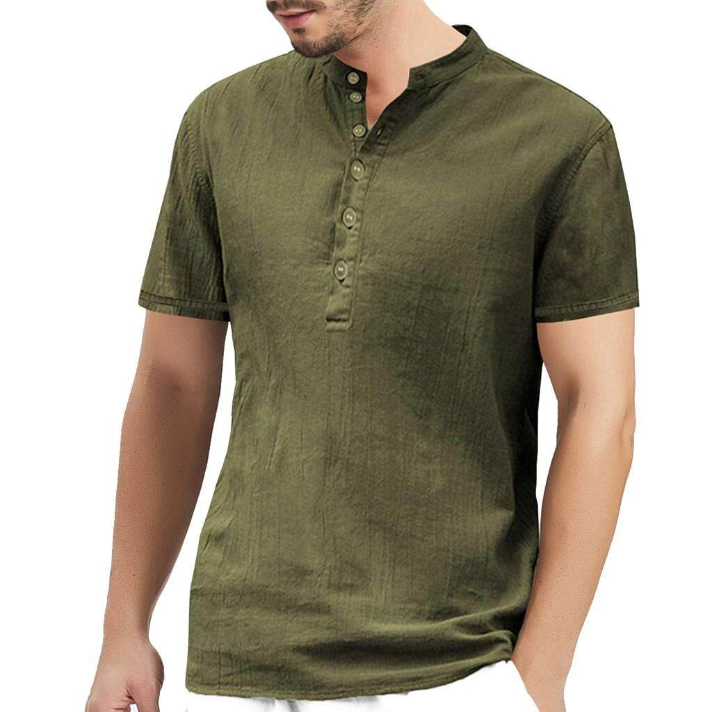 436ae6bf New Style Men's Summer New Style Button Pure Cotton Short Sleeve  Comfortable Blouse shirt