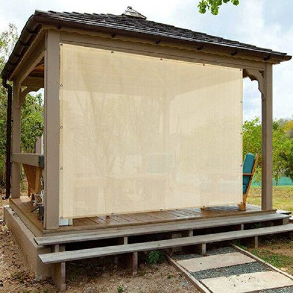 Sun Shade Mesh Canopy Awning Privacy Screen Wind Screen Hot Resistant Protection Shelter 90% UV Blocking for Gazebo Patio Garden Outdoor Greenhouse Flower Barn Kennel Fence Beige