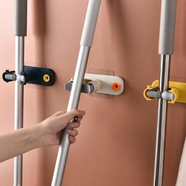 2Pc Mop Broom Holder Wall Mounted Mop Holder Household Adhesive Storage Broom Hanger Mop Hook Racks Kitchen Bathroom Organizer