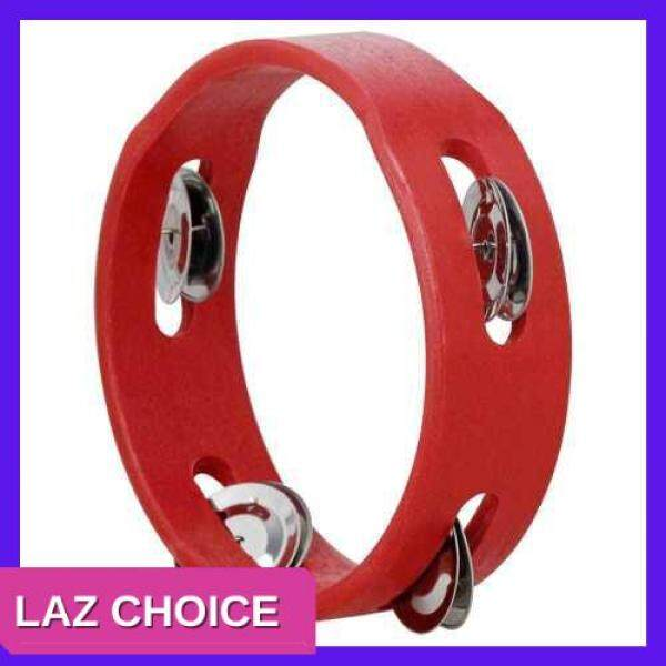LAZ CHOICE 6 Inch Handheld Wooden Tambourine Hand Bell Percussion Musical Toy Single Row Metal Jingles Red for Party Kids Games (Red) Malaysia