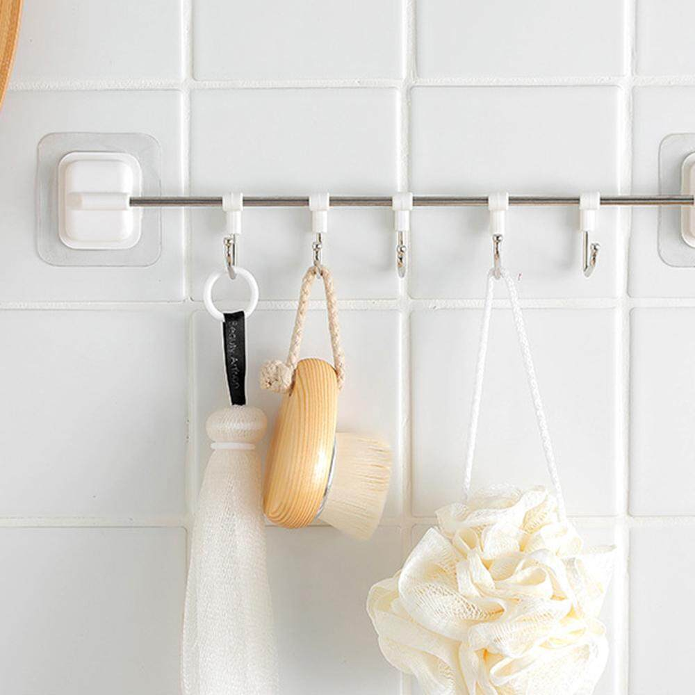 XJING- New Wrought Iron Free Punching Strong Seamless Stickers Hook Bathroom Door Hook Hook Multi-Function 5 Hook