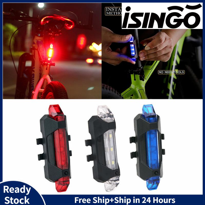 ISingo Bike Tail Light Xe Đạp Có Thể Sạc Lại USB 5 Đèn LED An Toàn Phía Sau Đèn Nhấp Nháy Wraning