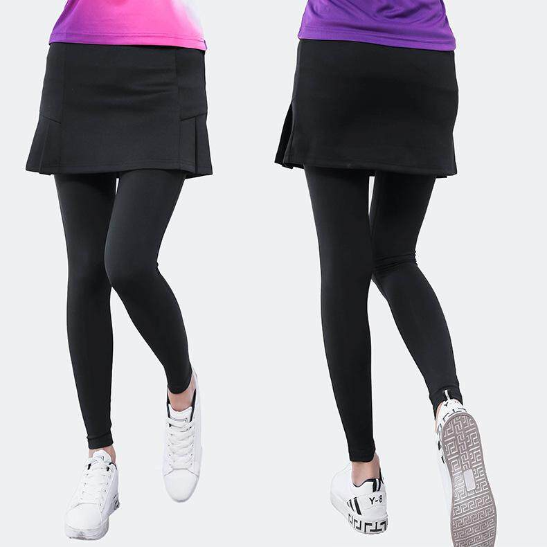 Ladies Tennis Skirt with Leggings Workout Fitness Gym Yoga Running Pants  Skort for Women Badminton Volleyball Sports Tights Clothing Black Quick Dry