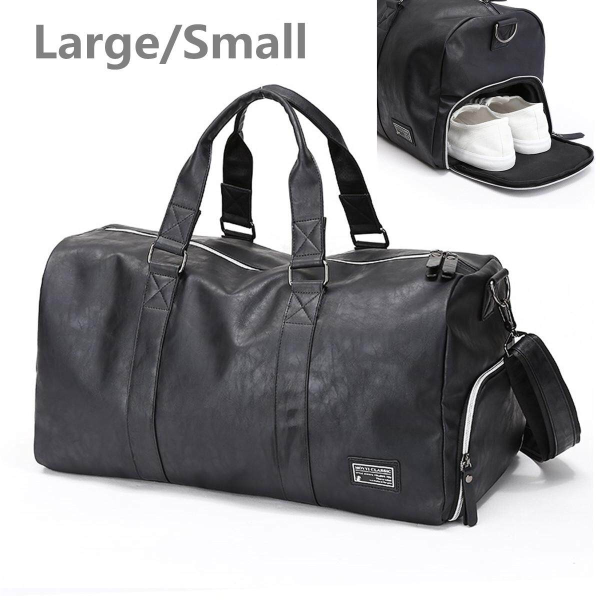 6b5ccedfd0 New business Mens Black Large Leather Travel Gym Bag Weekend Duffle Bag  Handbag  Small
