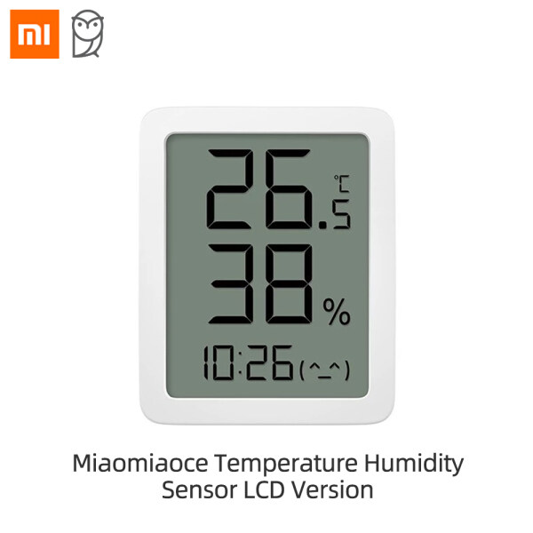 Xiaomi Ecological Chain Miaomiaoce Temperature Humidity Sensor LCD Version Freely Switch Between Celsius And Fahrenheit High-precision Sensor Time Display Flexible Placement Thermometer With Large LCD Display