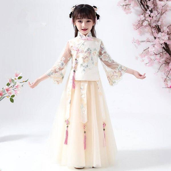 Trung Quốc Phong Cách Cổ Điển Cô Gái ĐẦM MÙA HÈ Váy Tiên Nữ Trẻ Em Phong Cách Cổ Xưa Hanfu Trẻ Em Giá Rẻ Hanfu Đầm Công Chúa Váy