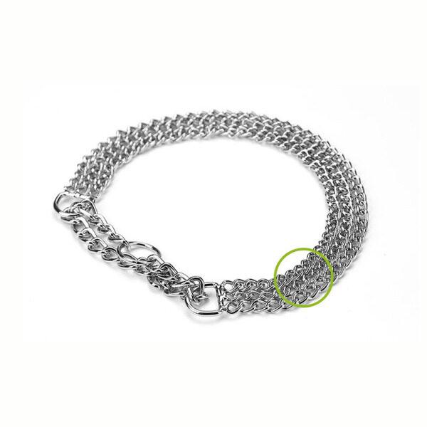 Chrome Mạ Ba Hàng Huấn Luyện Chó Chuỗi Sliver Sắt Điều Chỉnh Dog Collar Cá Nhân Pet Pinch Collars Chain Martingale Pug