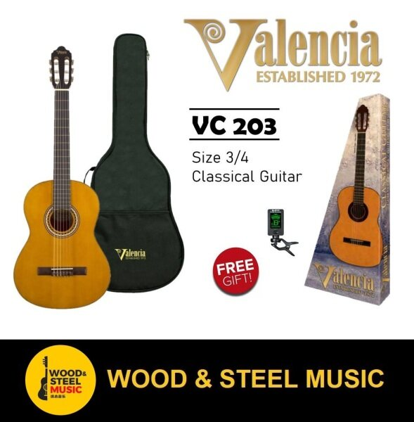 Valencia VC203 Classical Guitar (3/4 size) Three Quarter Size with bag and tuner Malaysia