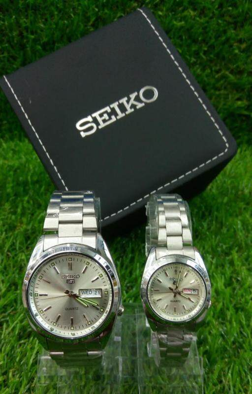 SPECIAL PROMOTION SEIK0_5 ANALOG STAINLESS STEEL STRAP WATCH SET FOR COUPLES Malaysia