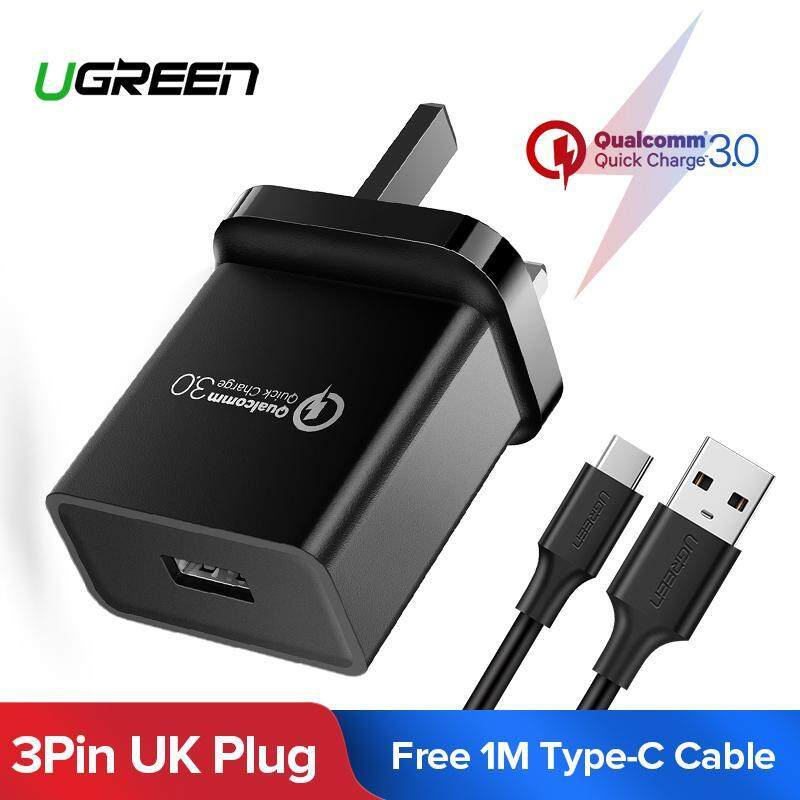UGREEN Qualcomm Certified Quick Charge 3.0 18W USB Wall Charger with Free 1m Type C Cable - Black,UK Plug