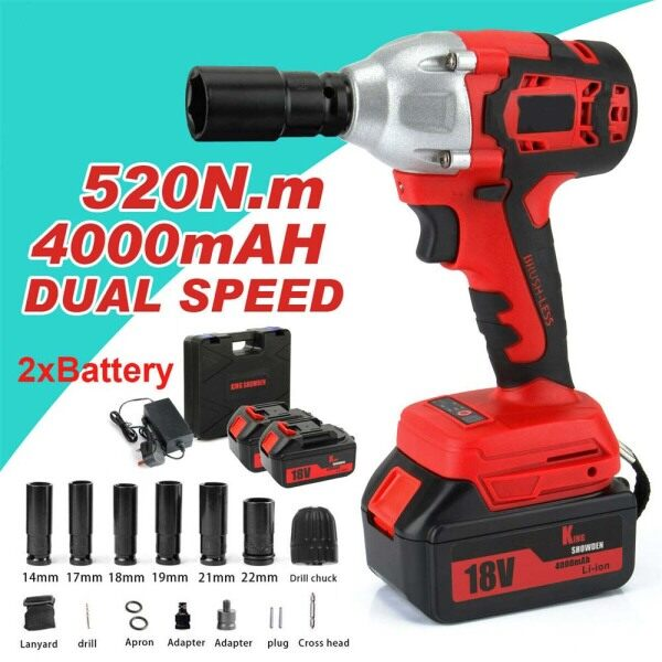 【Free Shipping】1/2 88VF 520Nm Electric Brushless Cordless Impact Wrench Driver with 2 Lithium-Ion Battery and Charger and 6 Rattle Sockets