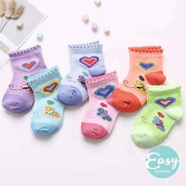 [ Random 6 Pairs ] Baby Infant Socks Newborn - 1 Years Old By Easy Wearhouse.
