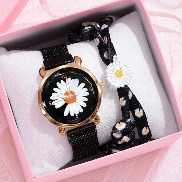 2pcs Set Fashion Women Watches Luxury Magnet Buckle Daisy flower Watch Ladies Quartz Wrist Watch Bracelet Set Reloj Mujer Malaysia