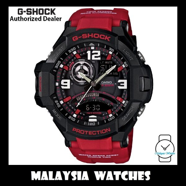 (OFFICIAL WARRANTY) Casio G-Shock GA-1000-4B Gravitymaster Twin Sensor Compass Thermometer Red Resin Strap Watch GA1000 GA-1000 GA1000-4B GA-1000-4BDR Malaysia