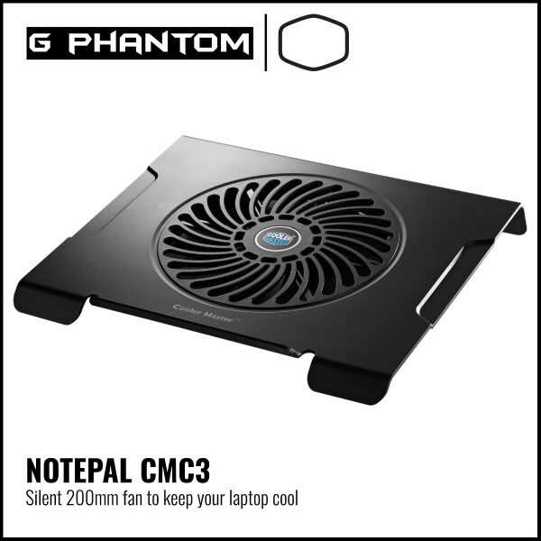 "Cooler Master Notepal CMC3 Notebook Cooler, Slim & Lightweight, 200mm Fan, Up to 15"" Notebooks Malaysia"