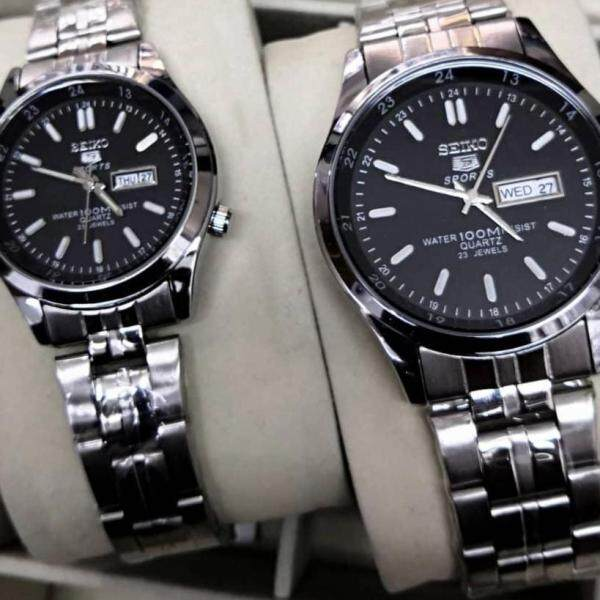 NEW ARRIVAL SPECIAL PROMOTION SEIKO_5 ANALOGUE STAINLESS STEEL STRAP WATCH FOR COUPLE(Along With Free Gift) Malaysia