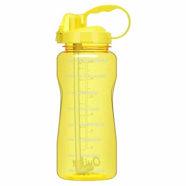 [CW] QuiFit 2.0L/64OZ Gallon Chai Nước Thể Thao Với Ống Hút Uống Và Mốc Đánh Dấu Thời Gian Không Chứa BPA Động Lực