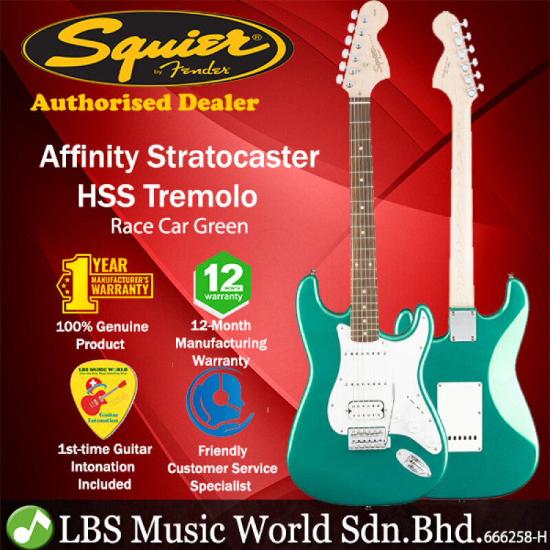 Squier by Fender Affinity Stratocaster Electric Guitar HSS with Tremolo (Race Car Green) Malaysia