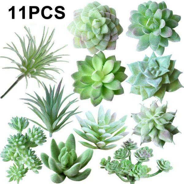 SensoDaily 11pcs Mini-type Simulation of Succulents Family Fake Flowers