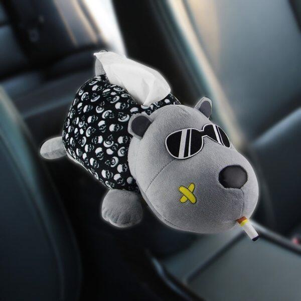 Sáng Tạo Xe Mô Hộp Sang Trọng Husky Phim Hoạt Hình Động Vật Dog Khăn Ăn Chủ Trên Tay Vịn Tựa Đầu Xe Phụ Kiện Cho Auto Home Decor