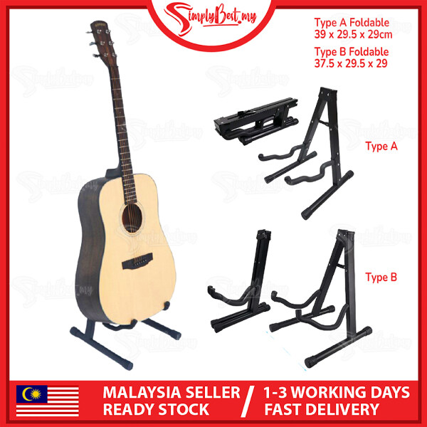 SIMPLYBEST Foldable Guitar Floor Stand Holder Black Square Steel Pipe Electric Guitar Bass Acoustic Guitar Holder Stand Malaysia