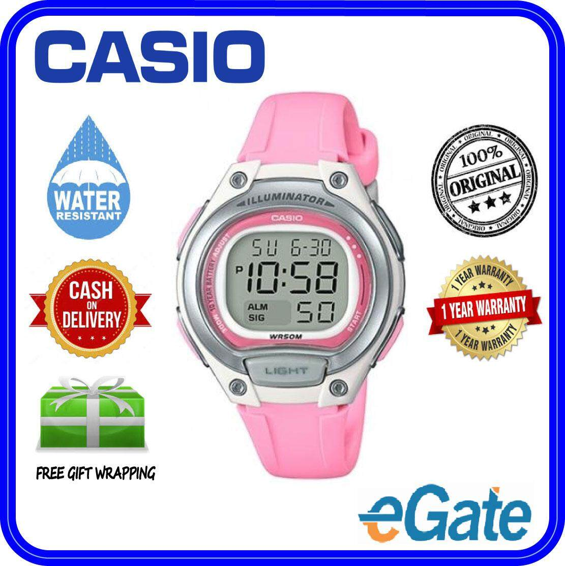 (2 YEARS WARRANTY) Casio LW-203-4A Kids & Ladies Youth Design Sporty Pink Resin Band Original Casual Watch (LW-203) Malaysia
